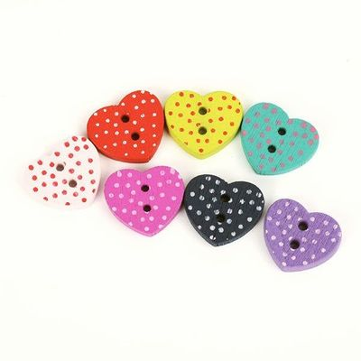 Pack of 50 Assorted Colours Wood Polka Dot Heart Buttons. 11mm x 12mm £6.99