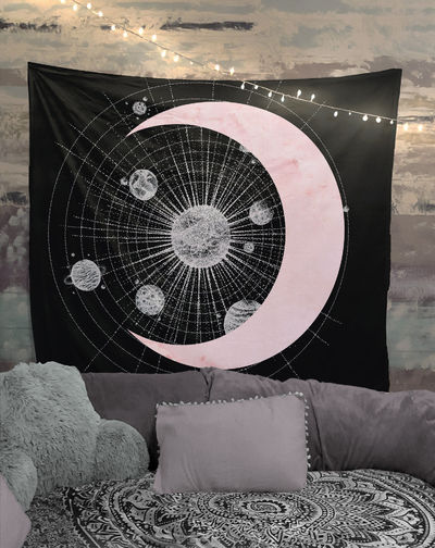 Space Geometry Gray and Pink Tapestry Wall Hanging Meditation Yoga Hippie $35.00