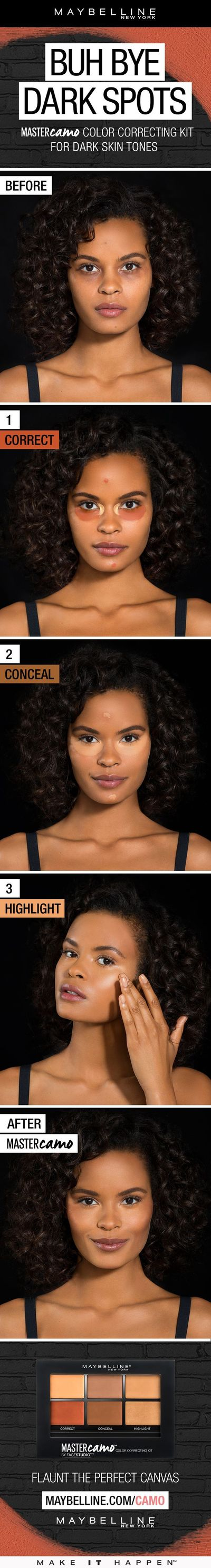 Say goodbye to dark spots and dark undereye circles! Maybelline Master Camo Color Correcting Kit gives you shades to color correct, conceal and highlight all in one! Just follow this tutorial for dark skin tones. Use the orange color corrector for discolo...