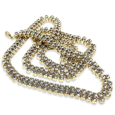 "Premium Luxury 2 Row Iced Out Gold Plated Pharaoh 30"" Hip Hop Bling Chain Necklace £59.04"