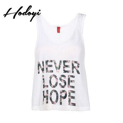 Must-have Oversized Vogue Sexy Printed Scoop Neck Racerback Alphabet Summer Sleeveless Top - Bonny YZOZO Boutique Store