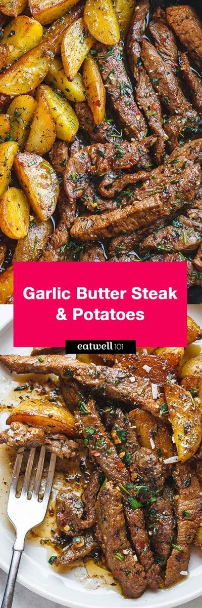"""Garlic Butter Steak and Potatoes Skillet �€"""" This easy one-pan recipe is SO simple and SO flavorful. Juicy steak and crisp-golden potatoes are pan-seared and cook"""