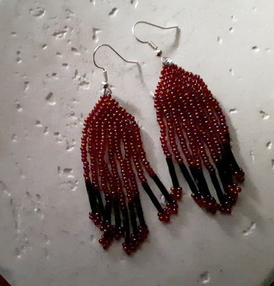 Red and black earrings peyote stitched $30.00