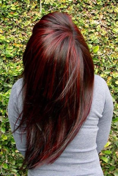 Long brown hair with red highlights brown hairs brunette with red highlights fashion hair red pretty brunette dye tint streaks highlight brown pmusecretfo Images