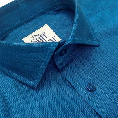 Peacock Blue Herringbone Shirt �'�1999.00