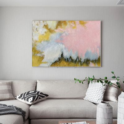 Modern Abstract acrylic yellow Pink large paintings on canvas original extra Large wall art Home Decor framed wall art cuadros abstractos $123.75