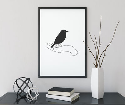 Aesthetic with Hands Poster Bird black and white Decor Bohemian Decor Print $8.00