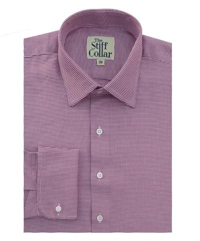 Burgundy houndstooth 2 ply cotton french cuff shirt for 2 ply cotton shirts