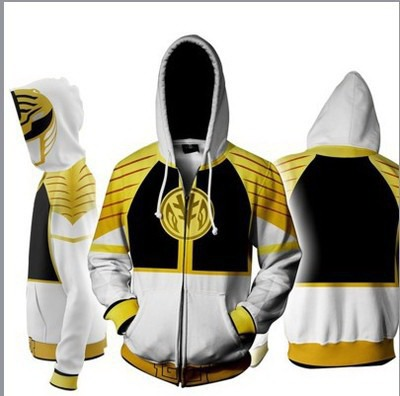 Power Rangers White Zip Up Hoodie Jacket $34.99