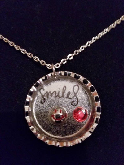 Silver Pendant Bottle Cap Messages in Resin Necklaces- Can Be Personalized $8.00