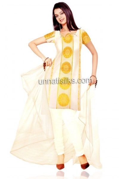 Unstitched cream handloom Kerala kasavu cotton dress ...