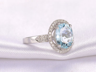 7X9MM OVAL CUT AQUAMARINE AND DIAMOND ENGAGEMENT RING 14K WHITE GOLD HALO FILIGREE