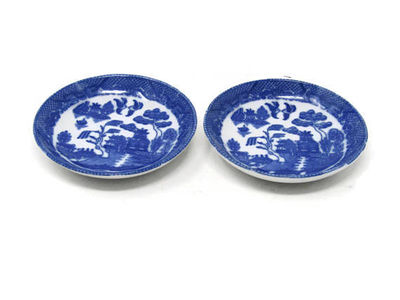 """Set of 2 Blue Willow Plates 3"""" Toy Child's Set / Blue Transferware Flo Blue Ironstone Toy Dishes / Pretend Play Toy Set / Vintage Play Set $29.99"""