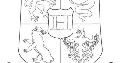 Hogwarts crest coloring page Can also be used for lunch time/arrival time to keep campers busy