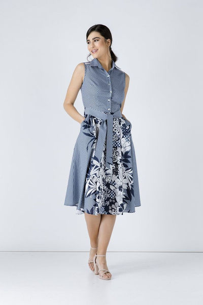 Button Detail Navy Blue Print Dress, Sleeveless Dress $109.99