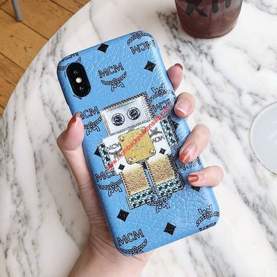 MCM VISETOS ROBOT IPHONE CASE IN WASHED BLUE