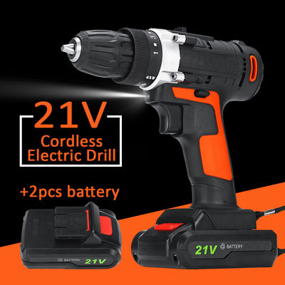 21V 100W 1350rpm Electric Cordless Impact Wrench LED Power Screwdriver Tool 2 Battery 2 Speed