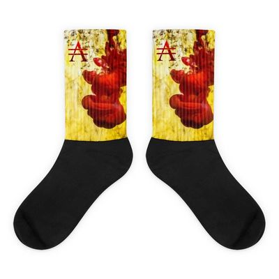 Red Splash on Yellow Socks $20.00
