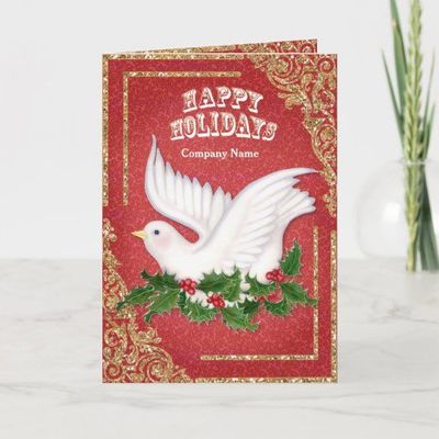 Christmas Dove and Holly Corporate Folded Holiday Card