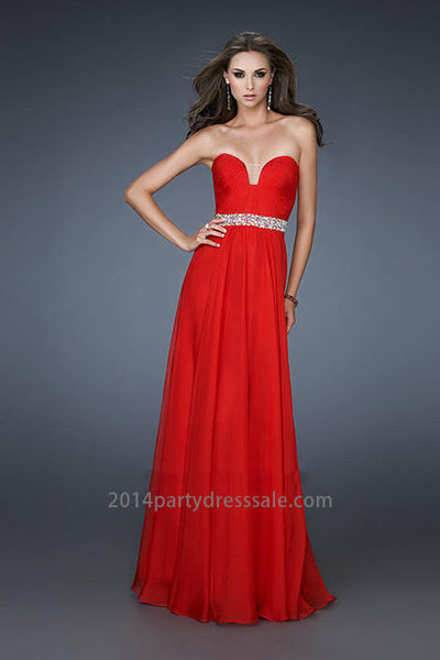 Chiffon A-line Pleated Bodice Affordable Strapless Red Homecoming Dresses