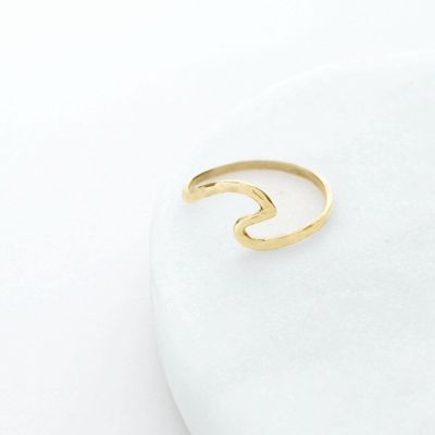 Hammered Gold Wave Ring