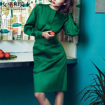 Vogue Attractive Slimming Curvy One Color It Girl Fall 9/10 Sleeves Dress - Bonny YZOZO Boutique Store
