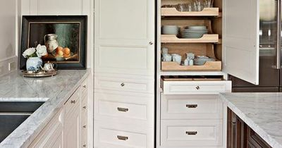 McGill Design Group - kitchens - cutlery drawer, kitchen pantry, built in pantry, pull out drawers, pull out pantry drawers, pantry drawers, cutlery drawer dividers, perimeter cabinets, white perimeter cabinets, carrara marble, carrara marble countertops,...