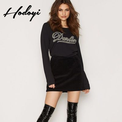 Oversized Vogue Printed Scoop Neck Alphabet Fall Comfortable Casual 9/10 Sleeves Hoodie - Bonny YZOZO Boutique Store
