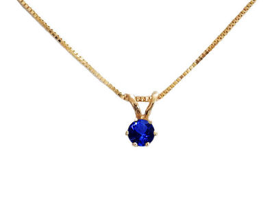 Sapphire Pendant Necklace 14K White or Yellow Gold Jewelry Genuine Sapphire Birthstone Charm Necklace Gift For Her 3mm 3.5mm 4mm 4.5mm 5 mm $255.00