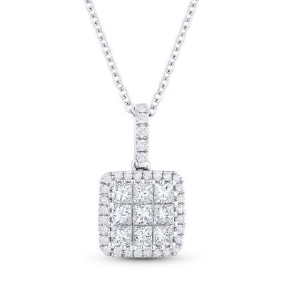 0.57ct Princess & Round Cut Diamond Pave Pendant in 18k White Gold w/ 14k Chain Necklace - AM-DN3969