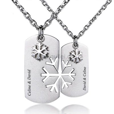Gullei.com Custom Engraved Couple Pendants Jewelry for Him and Her
