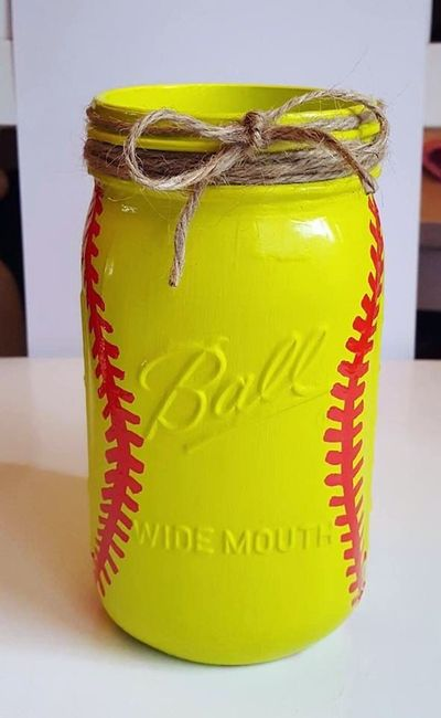 Softball Mason Jar - Softball Coach Gift - Softball Decor - Softball Centerpiece - Coaches Gift - Sports Mason Jar - Girl Room Decor by BeWreathedNYC on Etsy