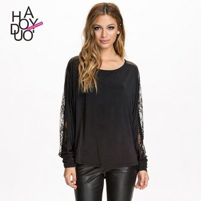 Vogue Seen Through Split Front Scoop Neck Fall 9/10 Sleeves Lace Blouse - Bonny YZOZO Boutique Store