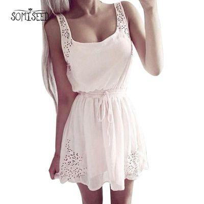 208 New Sexy Dress Slim Sleeveless Hollow Lady Chiffon Mini Vestidos casual Sweet Dresses white/pink Summer Dress Women $27.21