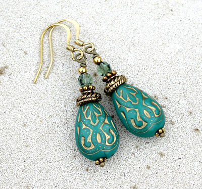 Dark Turquoise Green Drop Earrings - Silk Road, Bohemian, Antique Brass, Gold, Gift for Her, Bohemian, Christmas Gift