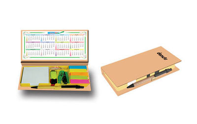 Our customized standard kraft organizer consists of a highlighter, U - Pins, Stapler, Sticky Notes, Post-it Markers, Sharpener, and a Printed Calendar Leaflet. The Front Cover of the Kraft Organizer and Pen Inside is completely customizable. Its a popular...