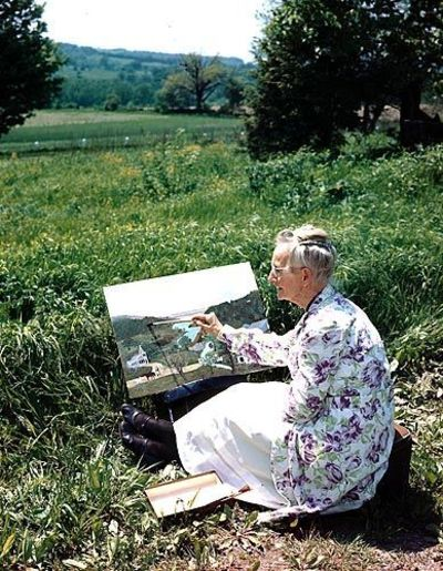 History of Grandma Moses, the artist. Motivational quotes from Grandma Moses.