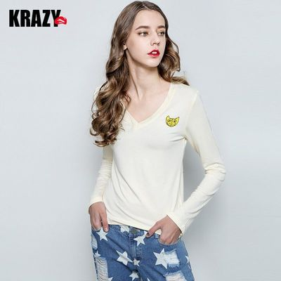 Must-have V-neck Cotton Casual 9/10 Sleeves T-shirt Top Basics - Bonny YZOZO Boutique Store