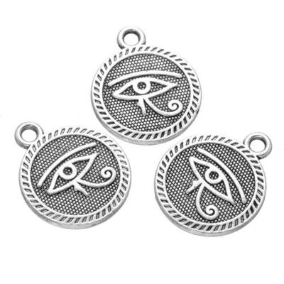 Pack of 20 Silver Colour Eye of Horus Charms. Egyptian Pendants. Wadjet Protection. 15mm Diameter. £5.99