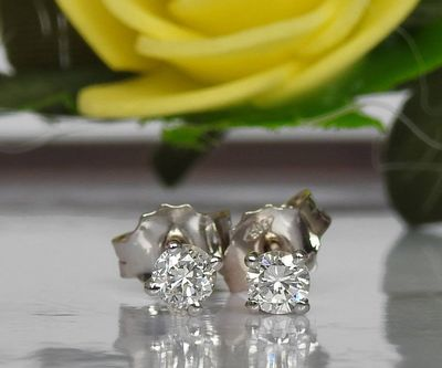 14K White Gold Studs, Girl Earrings, Small Stud Earrings, White Sapphire Studs, Christmas Gift $137.35