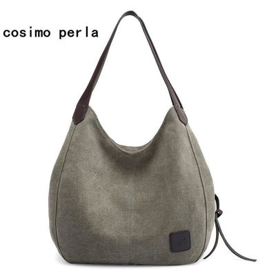 High Quality Fashion canvas bag tote women handbags shoulder bag Casual Multi-pocket Cotton Hobos $41.52