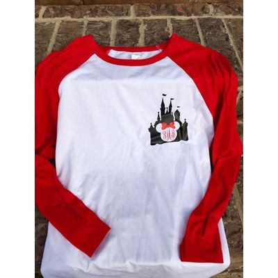 Disney Magic Kingdom Castle Minnie Mouse Raglan Shirt Red and White ($24) � liked on Polyvore featuring tops, t-shirts, black, women's clothing, raglan shirts, graphic design t shirts, raglan t shirt, red and white shirt and graphic t shirts