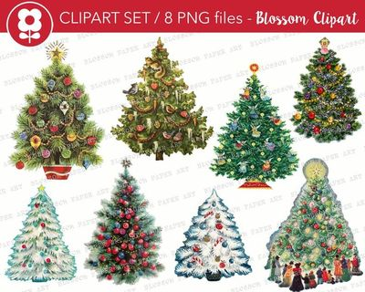Christmas Tree Clipart, Christmas Tree PNG Vintage Christmas Clip Art, Vintage Graphic Christmas Clip Art for Cards, Crafts, tags