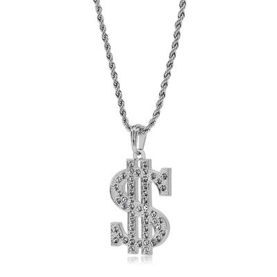 Silver Plated Full Dollar Sign Pendant Rope Chain Necklace £2.38
