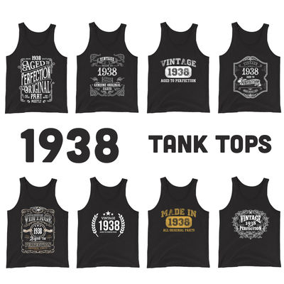 1938 Birthday Gift, Vintage Born in 1938 Tank tops for Women men, 82n Birthday shirt for Her him, Made in 1938 Tanks, 82 Year Old Birthday $19.99