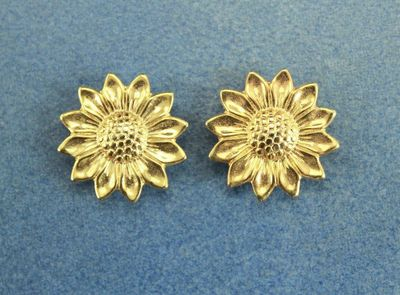 Gold or Silver Sunflower Magnetic Non Pierced Clip Earrings $25.00 Designed by LauraWilson.com