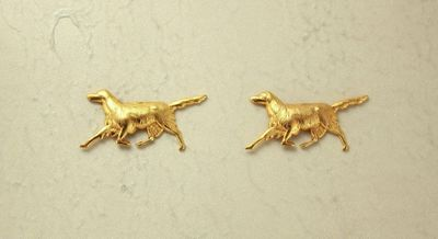 Dog Magnetic Clip Non Pierced Earrings 14 Karat Gold Plated Brass $25.00 Designed by LauraWilson.com