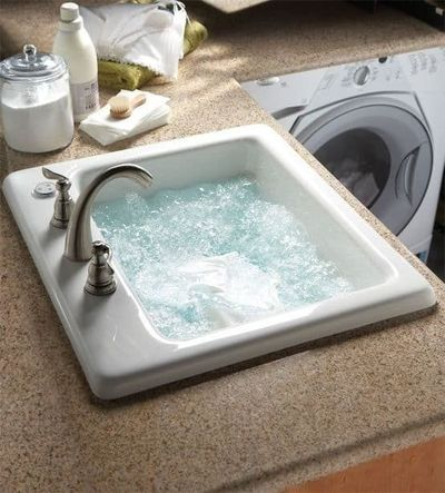 Jetted sink for laundry room.