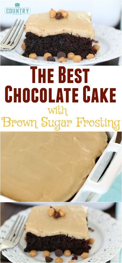 Homemade Chocolate Cake with Brown Sugar Frosting recipe from The Country Cook. It has a secret ingredient that makes it the best cake ever!