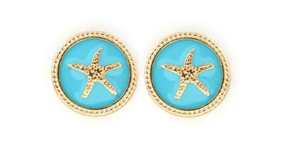Starfish Button Studs in Turquoise